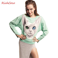 2013 spring and autumn women's fashion loose long-sleeved cotton cat avatar zipper Sweatshirts Jackets outerwear plus size