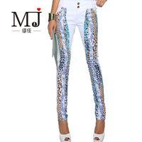 Multicolour print blue leopard print denim trousers elastic skinny low-waist pants white denim stovepipe pants