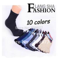 10 colors 5 pairs/lot  toe socks Pure cotton short cotton socks for men