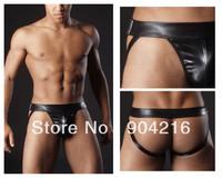 Fashion Sexy Lingerie Men Underwear Faux  Leather Jockstrap Boxer G-Strings&Thongs Trunks Nightwear Underpants Free Shipping#C37