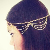 min order is $9(can mix)Fashion aesthetic personality tassel chain multi-layer hair band hair jewelry TS103