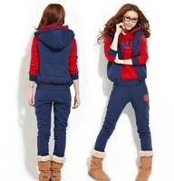 London 3pcs/set !2014 Autumn Winter New Fashion cool velvet Casual Women's Hoodie Coat Thickening Sweatshirt Outerwear Jacket