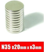 In stock 10Pcs/Lot 20mm x 3mm Disc Rare Earth Neodymium Super Strong Magnets N35 Craft Model Free Shipping