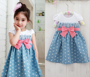 Girls Baby Kids grils Toddlers 1pcs Cowboy Blue Polka Dot Bowknot Dress Clothes S1 6Y free shipping