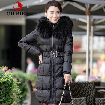 Oilbird women's formal large fur collar down coat solid color slim long design thickening