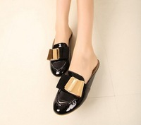 2013 spring round toe bow flat single shoes female shoes