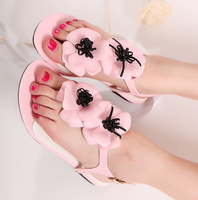 Candy sweet flower flat sandals women's shoes