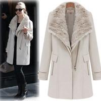 2014 autun winter Fashion ladies british style big wool fur collar coat thickening long woolen overcoat 3pcs set outerwear 60