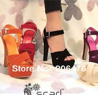 2014 sandals super-elevation strap open toe cross thick heel sandals female