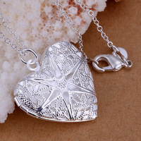 P185 New 925 silver pendant necklace silver jewelry Necklace fashion 925 silver charm Heart-shaped net flower photo necklace