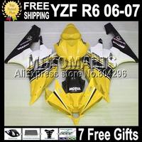 For YAMAHA Yellow white black ! YZF-R6 2006 2007 YZF R6 YZF600 YZF-R600 YZFR6 Q96353 YZF 600 06 07 2006 2007 Fairing 7gifts