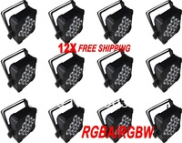 12X lot Freeshipping -RGBW/RGBA 9pcs*10W  Flat Par Can Light, low weight-easy installation,wireless receiver supportable