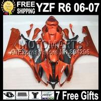 7gifts  Orange black For YAMAHA YZF-R6 06-07 YZF-R600 YZFR6 06 07 Q96318 YZF 600 Orange !! YZF R6 YZF600 2006 2007 Fairings