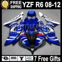 7gifts For YAMAHA YZFR6 08-12 Blue white YZF R6  2008 2009 2010 2011 2012 YZF600 Q97435 YZF-R6 FIAT 08 09 10 11 12 Fairing