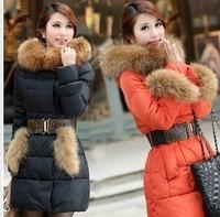 2012 luxury large fur collar slim down coat medium-long female plus size