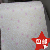 Rubber pvc wallpaper waterproof wallpaper roll gold small red flowers