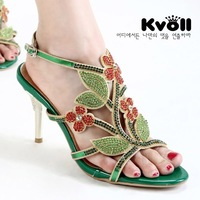Kvoll PU women's shoes exquisite handmade diamond color block gold plated flower cutout sandals high heels green
