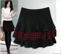 New Arrival 2013 Autumn Winter Mini Plaid Skirt High Waist Big Size Pleated Skirts Women's