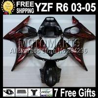 7 Free giftsFor YAMAHA Q94 YZF-R6 03 05 YZF600 Red flames 04 2004 YZF R6 MK243 YZFR6 Red black YZF-600 03-05 2003 2005  Fairing