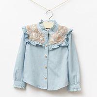 2014 New,girls denim blouses,children fashion autumn shirts,sequin flowers,cotton,1-7 yrs,5 pcs/lot,wholesale kids clothing,1726