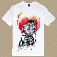 High Quality T Shirt Cowboy/ Novelty T Shirt Man/ Men's Tatooed Cowboy Print Tee Shirt/ Shirt Rock N Roll