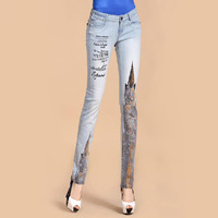 2013 Autumn New Style Fashion Womens Print Denim Pants , Female Designer Skinny Jeans , Slim Pencil Jean Trousers For Woman