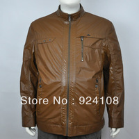 Free shipping 2013 Hot high-quality Increase in fur coat  stand collar men's clothing outerwear leather clothing / 2XL-6XL
