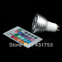 3W4W 5pcs/lot GU10 LED RGB Color Changing LED Light Bulb lamp with 280LM+Wireless Remote Contrel+Free Shipping  warranty 2 years