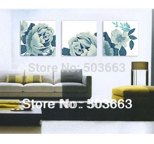 30x30x3 orientais 3 Pcs 40 centímetros Painting Flowers óleo abstrata arte da parede da casa Deco Canvas S- 533C(China (Mainland))