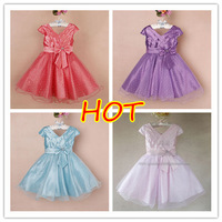 HOT New girls princess party dress with bow V-neck Ball Gown Flower Girl's Dresses Free Shipping 6 pcs lot XJ1012