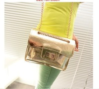 Crystal packet Locomotive fluorescent color plastic metal chain handbag shoulder aslant female bag