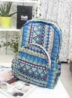 Free Shipping 2013 bag vintage national trend stripe women's backpack handbag student school bag print cotton cloth bag