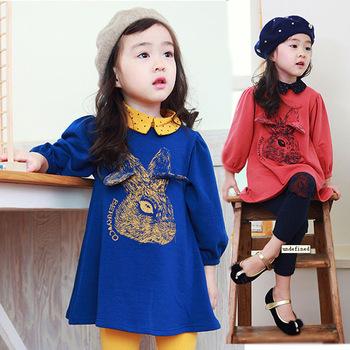 Children's clothing female child 2013 autumn unique bunny long-sleeve  shirt + solid leggings girls' suits baby  kids sets