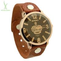 2014 New Arrival Vintage Brown Leather Strap Watch Top Layer Crown Wristwatch Women Men PI0542