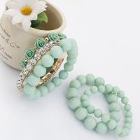 Min order is $10 Accessories elastic ball sweet pink rose multi-layer bracelet 5108