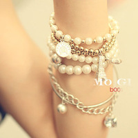 Min order is $10 New arrival 2013 bracelet fashion multi-layer five-pointed star pyramid pearl bracelet 0118