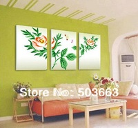 50cm Modern 3 Pcs Flowers Abstract Art Oil Painting Home Wall Deco Canvas S-534A