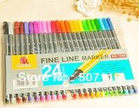 Free Shipping 24pcs/lot 0.4mm Multicolours Pen Water-based Pen Ultrafine Fiber Cartridge 24 Multicolour Gel Pens