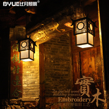 Antique wooden lamps stair wood chinese style sheepskin pendant light 3009