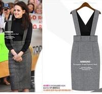 2013 autumn and winter popular women's houndstooth slim one-piece dress spaghetti strap tank dress