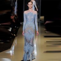 Vintage Blue Applique Evening Dresses With Sleeves(EVEL-1010)