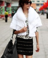 2013 New Arrival Women's Winter Warm High Quality Fox Fur Collar Layer Style White Coat  Sent from Russia