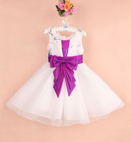 Girl's Ball Gown wedding dresses White custom pageant dresses for little girls with Purple Bowknot 6 pcs lot XJ1017