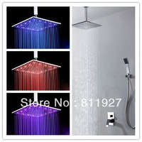 8 inch led temperature brass bathroom concealed rainfall shower faucet valve hot water set Fast delivery free shipping