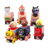 Hot Selling 6pcs/lot Small train child Education puzzle wooden toy baby magnetic trainmen van for carrying People