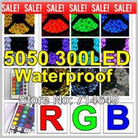 10m/lot, 5050 60LED/M 300LED RGB Waterproof, 12V changeable colorful led strip, SMD 5050 RGB led flexible strip, free shipping