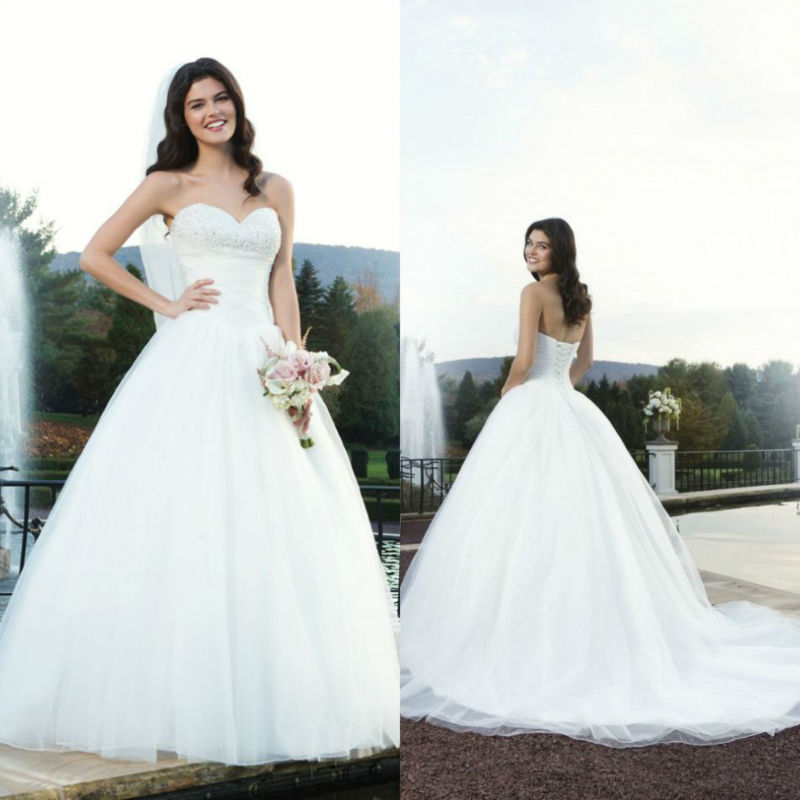 Latest design sweetheart heavily beaded bodice back lace for Big tulle ball gown wedding dress