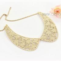 Beautiful gold cutout carved metal false collar necklace metal