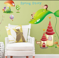 Spring Story Cartoon Wallpaper DIY WALL DECALS Stickers Home Deco,free shipping