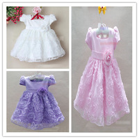 Cute Baby Girl's Roses Wedding Dresses Square neck puff sleeve Prom Dresses Evening dress 1-4 year old 4 pcs lot XJ1020
